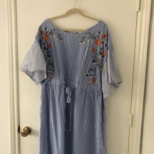 Embroidered Stripe Floral Dress | PLUS